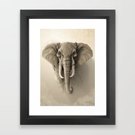 Framed Art Print featuring Elephant by Rafapasta