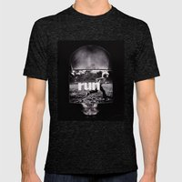 r u n (ANALOG zine) Mens Fitted Tee Tri-Black SMALL