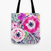 RED ANEMONE SPRAY FLORAL Tote Bag