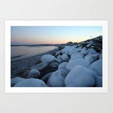 Snowballs on the Beach Art Print