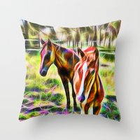 Horses In A Field Throw Pillow