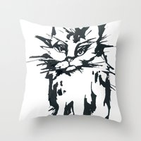 A Threatening Cat Throw Pillow
