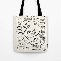 Love Extravagantly scripture print Tote Bag