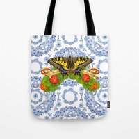 Swallowtail Butterfly and Blue Rhapsody Tote Bag