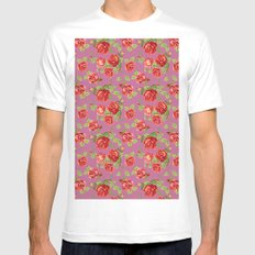 Rose pattern- pink Mens Fitted Tee White SMALL