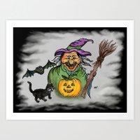 Witch, Bat And Cat, Happ… Art Print