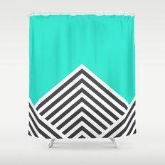 Minty Fresh Chevron Shower Curtain