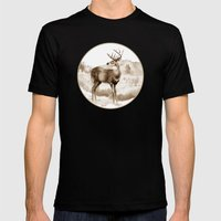 White-tailed Stag Sniffing the Air Mens Fitted Tee Black SMALL