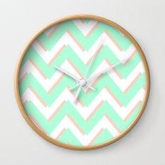 3D CHEVRON MINT/PEACH Wall Clock