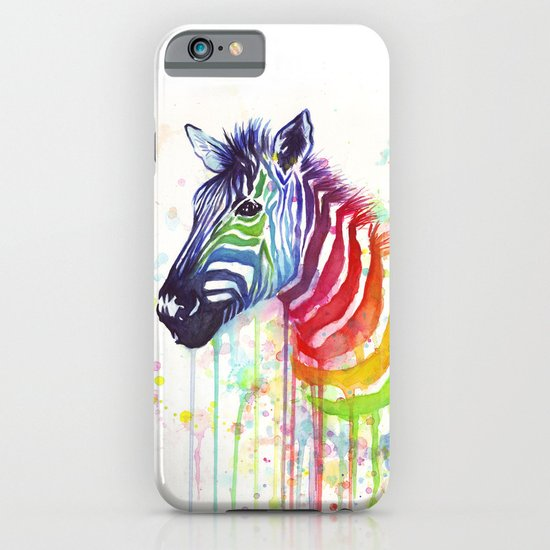Zebra Watercolor Rainbow Painting | Ode to Fruit Stripes iPhone & iPod Case