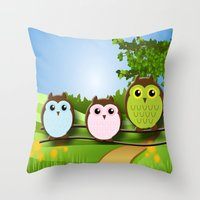 Country Owls Throw Pillow
