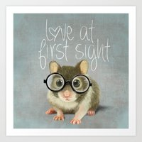 A Small Mouse With Glass… Art Print