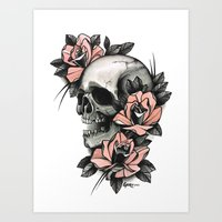 Skull And Roses - Tattoo Art Print