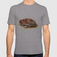 Sleeping Fox Watercolor Mens Fitted Tee Athletic Grey SMALL