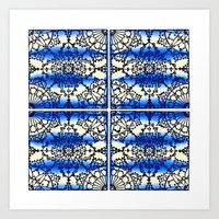Blue Ink Shibori Tile Art Print