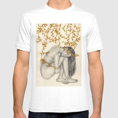 The Fragility Of Being Human White SMALL Mens Fitted Tee