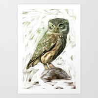 Art Print featuring Olive Owl by Bright Enough💡