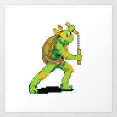 Pixelated Teenage Mutant Ninja Turtles (TMNT) - Michaelangelo Art Print