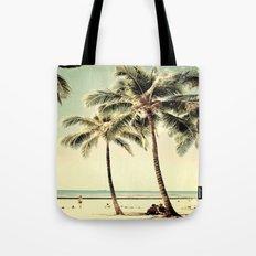 Retro Vintage Palm Tree with Hawaii Summer Sea Beach Tote Bag