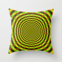 Pulse in Red Yellow and Green Throw Pillow