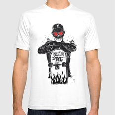SKATE OR DIE SMALL White Mens Fitted Tee