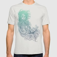 Seabeard Mens Fitted Tee Silver SMALL