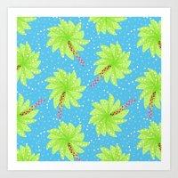 Pattern of Palm Tree-like Flowers Art Print