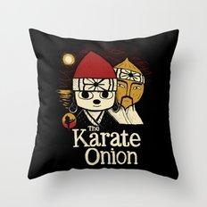 the karate onion Throw Pillow