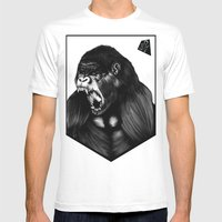 Silverback Gorilla Mens Fitted Tee White SMALL