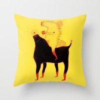 Yellow Rider Throw Pillow
