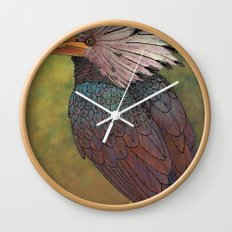 White Crested Hornbill Wall Clock