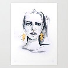 Golden leaf Art Print