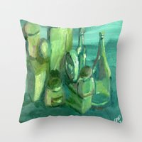 Still Life Study In Gree… Throw Pillow