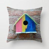 Birdhouse 2 Throw Pillow