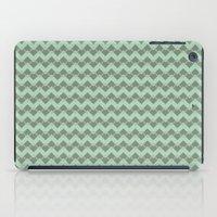 Mint Geometric Art Deco Chevron Pattern iPad Case