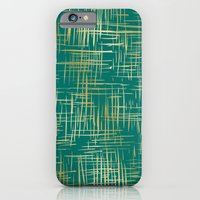 iPhone & iPod Case featuring Crosshatch Emerald by Caitlin Workman