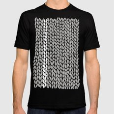 Grey Knit With White Stripe SMALL Black Mens Fitted Tee