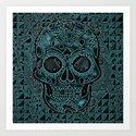 Skull, aqua Art Print