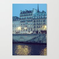 Paris By Night: Ile De L… Canvas Print