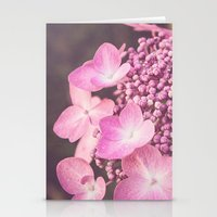 Botanical Pink Rose Purple Lace Cap Hydrangea Flower Stationery Cards