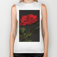 Portrait Of A Red Rose Biker Tank
