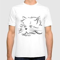 Cat Lines Mens Fitted Tee White SMALL