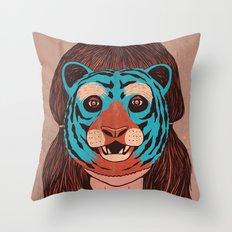 Tiger Face Throw Pillow