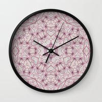 Vintage Raspberry Pink and Paris Gray Earth Mandala with Hearts Wall Clock
