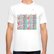 Houses and Birds White SMALL Mens Fitted Tee