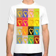 Gold Hearts On Colorful … Mens Fitted Tee White SMALL