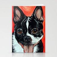 Boston Terrier Dog Art Stationery Cards
