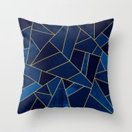 Blue Stone With Gold Lin… Throw Pillow