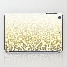 Gradient yellow and white swirls doodles iPad Case