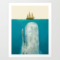 sea Art Prints featuring The Whale - colour option by Terry Fan